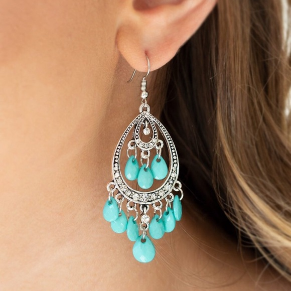 Silver& Blue Chandelier Earrings